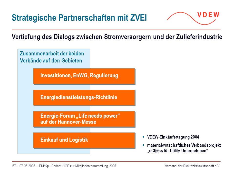 Verband der Elektrizitätswirtschaft e.V. 07.06.2005 ·EM/Kp · Bericht HGF zur Mitgliederversammlung 200567 · Strategische Partnerschaften mit ZVEI Zusa