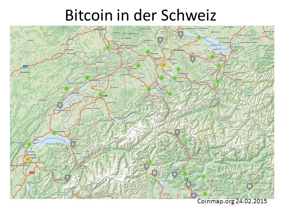 Bitcoin in der Schweiz Coinmap.org 24.02.2015