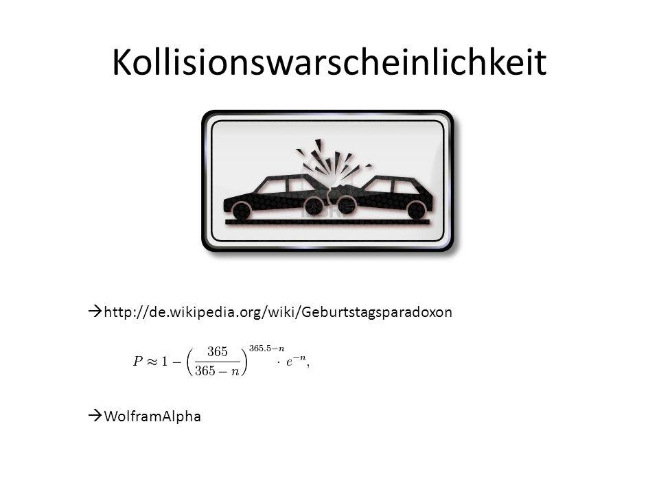 Kollisionswarscheinlichkeit  http://de.wikipedia.org/wiki/Geburtstagsparadoxon  WolframAlpha