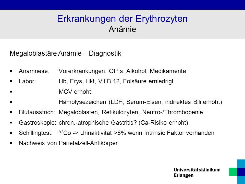 Megaloblastäre Anämie – Diagnostik  Anamnese:Vorerkrankungen, OP`s, Alkohol, Medikamente  Labor: Hb, Erys, Hkt, Vit B 12, Folsäure erniedrigt  MCV