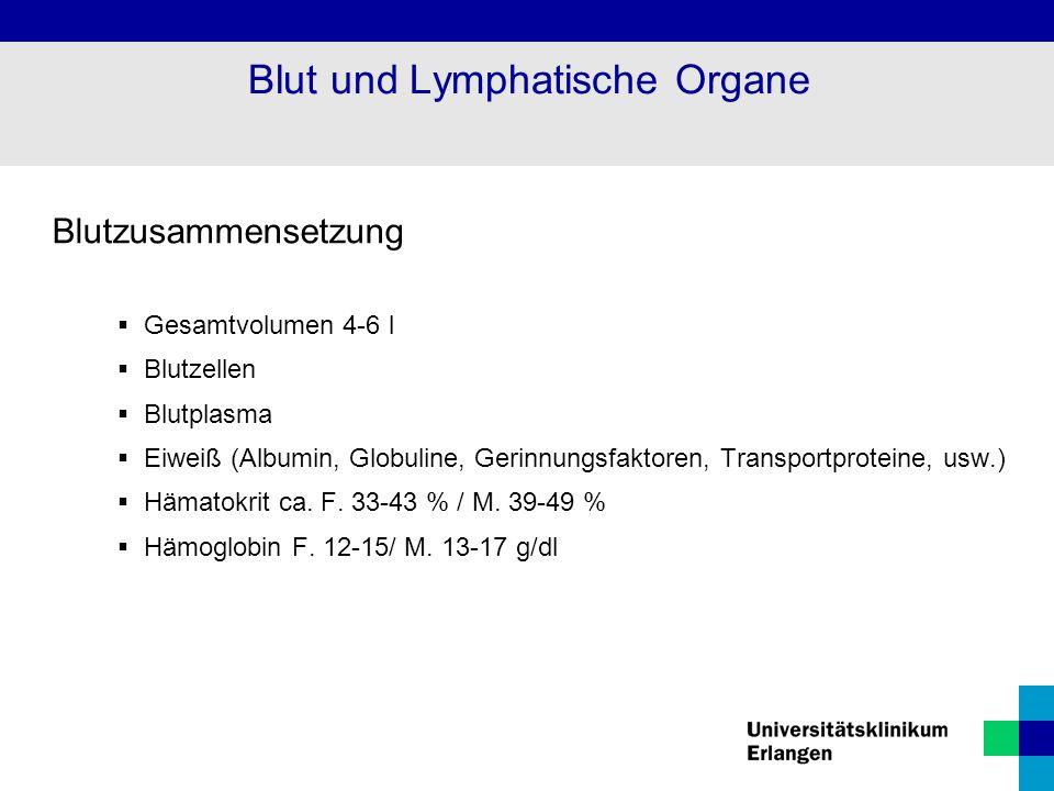 Blut und Lymphatische Organe Blutzusammensetzung  Gesamtvolumen 4-6 l  Blutzellen  Blutplasma  Eiweiß (Albumin, Globuline, Gerinnungsfaktoren, Tra
