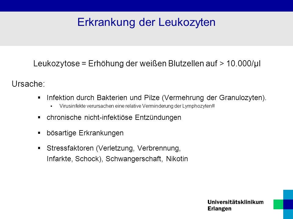 Erkrankung der Leukozyten Leukozytose = Erhöhung der weißen Blutzellen auf > 10.000/µl Ursache:  Infektion durch Bakterien und Pilze (Vermehrung der