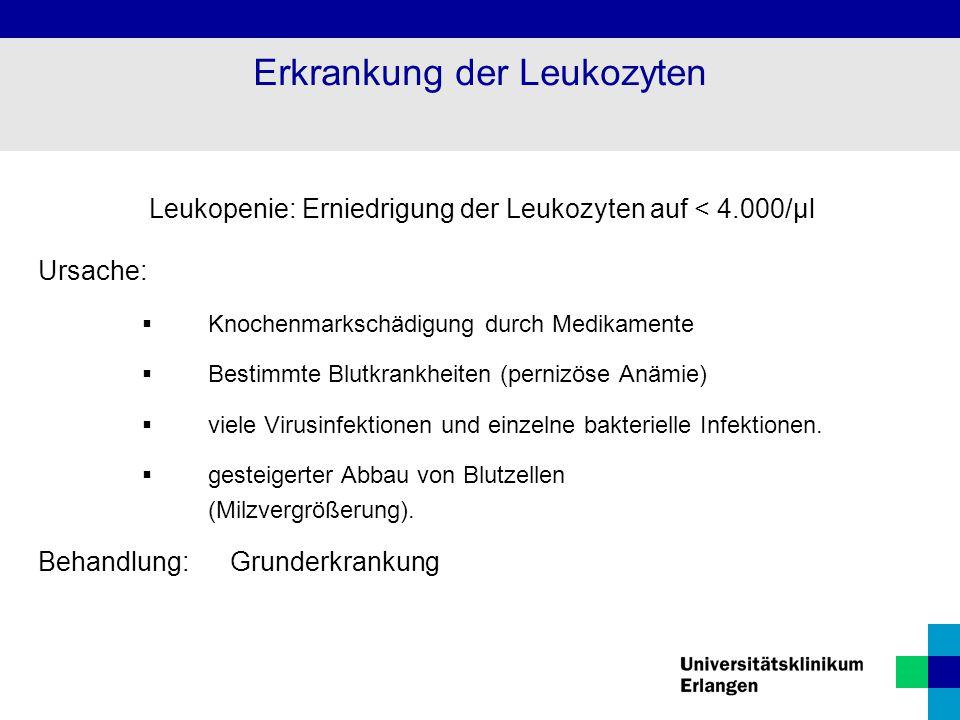 Leukopenie: Erniedrigung der Leukozyten auf < 4.000/µl Ursache:  Knochenmarkschädigung durch Medikamente  Bestimmte Blutkrankheiten (pernizöse Anämi