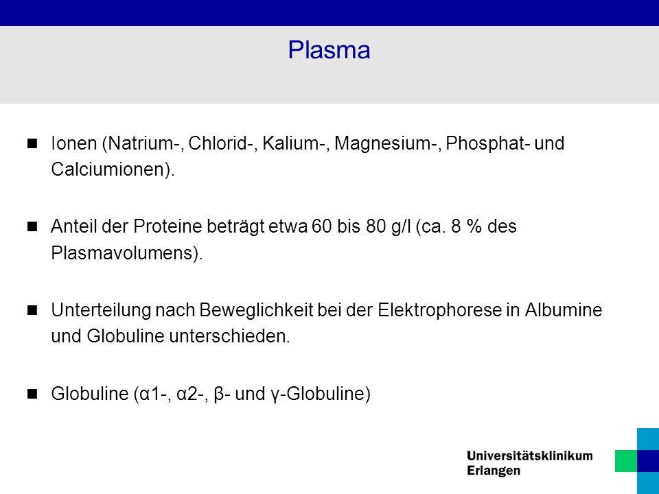 Plasma Ionen (Natrium-, Chlorid-, Kalium-, Magnesium-, Phosphat- und Calciumionen). Anteil der Proteine beträgt etwa 60 bis 80 g/l (ca. 8 % des Plasma