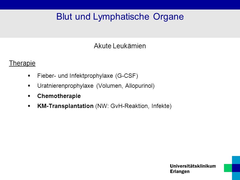 Akute Leukämien Therapie  Fieber- und Infektprophylaxe (G-CSF)  Uratnierenprophylaxe (Volumen, Allopurinol)  Chemotherapie  KM-Transplantation (NW