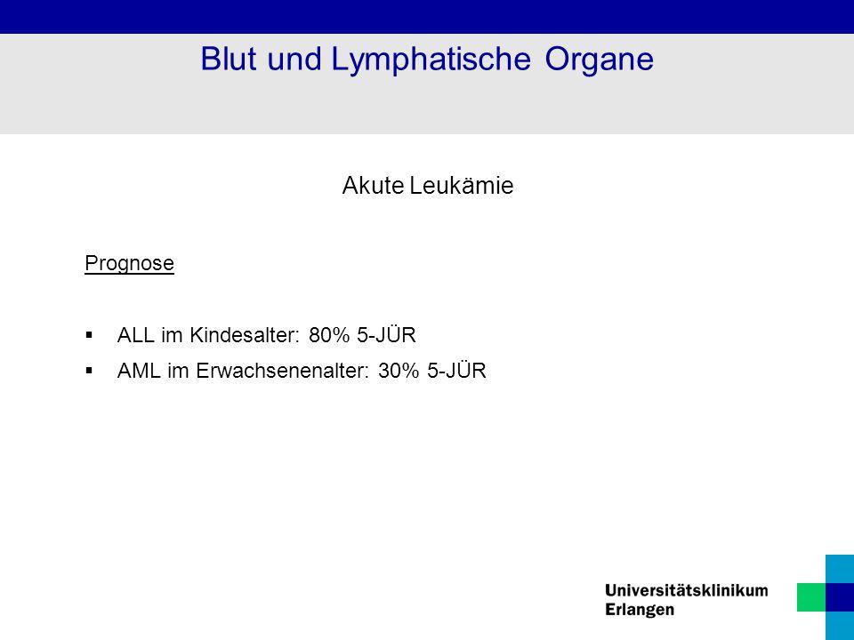 Akute Leukämie Prognose  ALL im Kindesalter: 80% 5-JÜR  AML im Erwachsenenalter: 30% 5-JÜR Blut und Lymphatische Organe