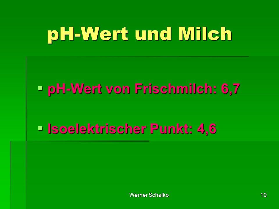 Werner Schalko10 pH-Wert und Milch  pH-Wert von Frischmilch: 6,7  Isoelektrischer Punkt: 4,6