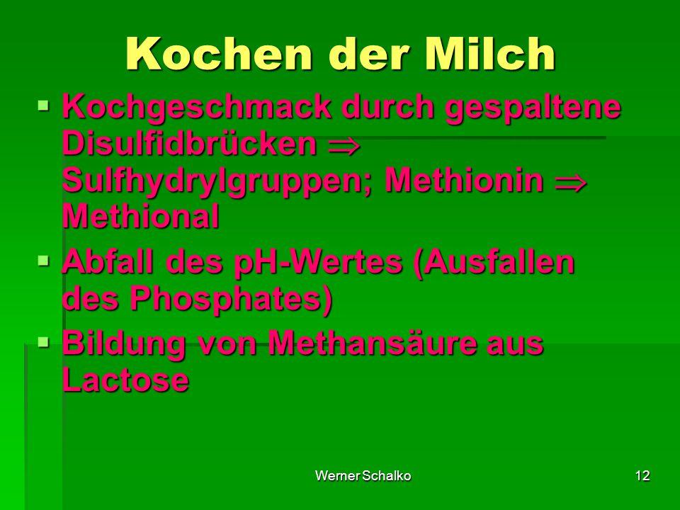 Werner Schalko12 Kochen der Milch  Kochgeschmack durch gespaltene Disulfidbrücken  Sulfhydrylgruppen; Methionin  Methional  Abfall des pH-Wertes (Ausfallen des Phosphates)  Bildung von Methansäure aus Lactose