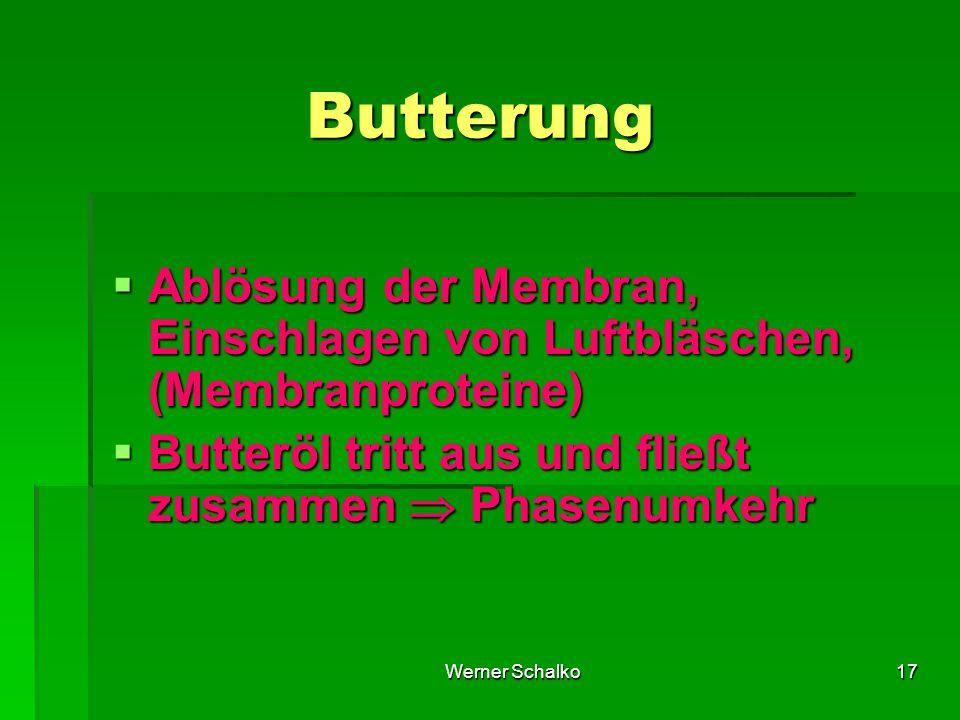 Werner Schalko17 Butterung  Ablösung der Membran, Einschlagen von Luftbläschen, (Membranproteine)  Butteröl tritt aus und fließt zusammen  Phasenumkehr