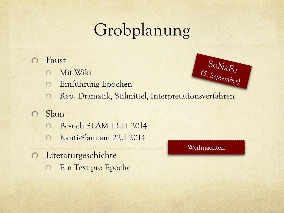 Grobplanung Faust Mit Wiki Einführung Epochen Rep. Dramatik, Stilmittel, Interpretationsverfahren Slam Besuch SLAM 13.11.2014 Kanti-Slam am 22.1.2014