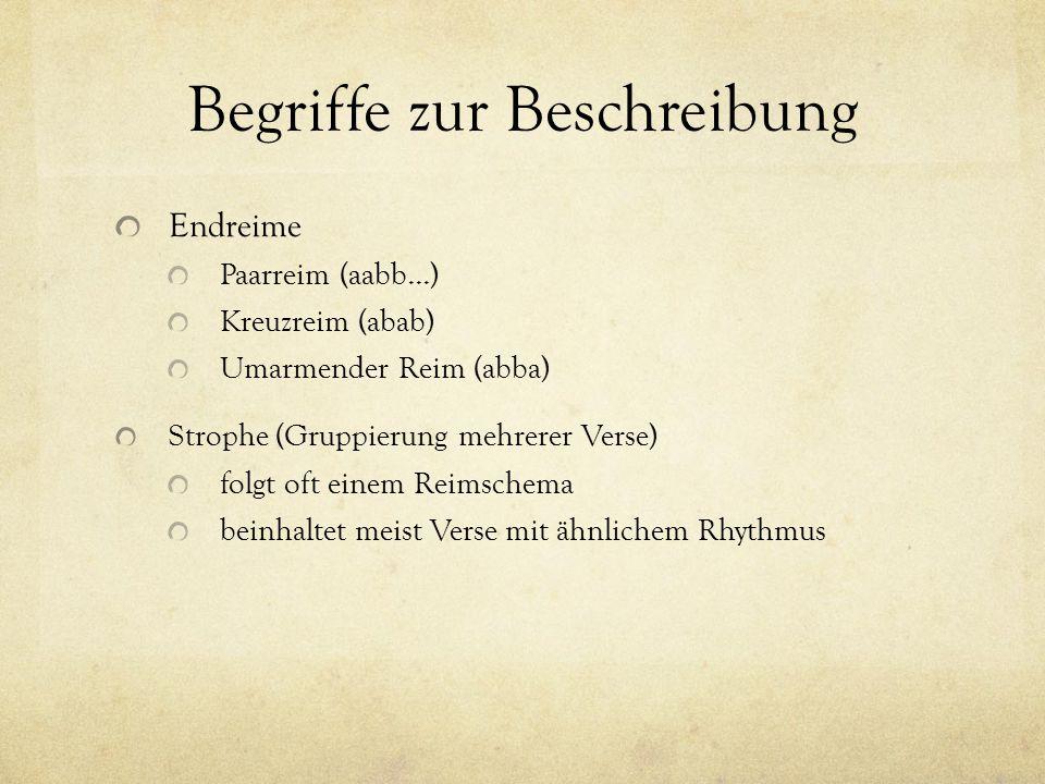 Begriffe zur Beschreibung Endreime Paarreim (aabb...) Kreuzreim (abab) Umarmender Reim (abba) Strophe (Gruppierung mehrerer Verse) folgt oft einem Reimschema beinhaltet meist Verse mit ähnlichem Rhythmus