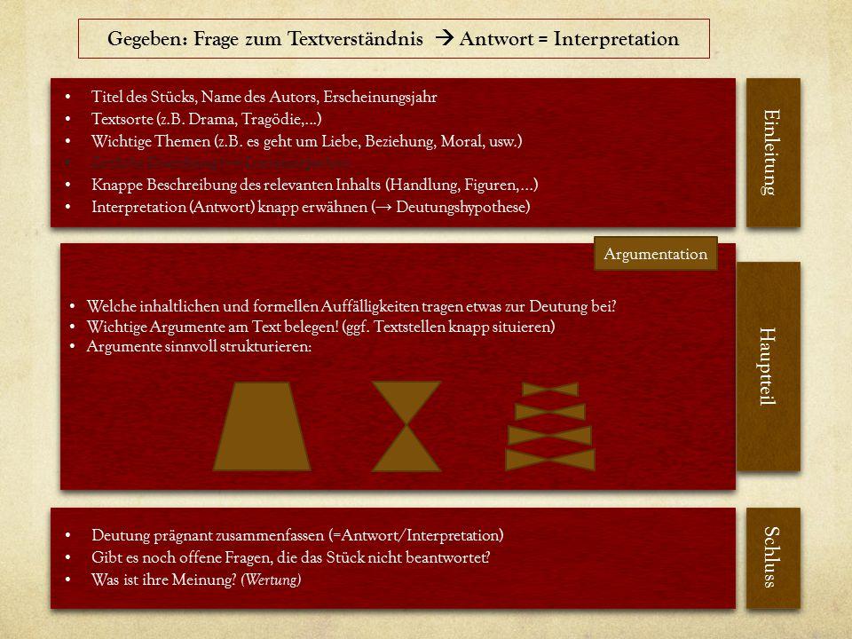 Titel des Stücks, Name des Autors, Erscheinungsjahr Textsorte (z.B.