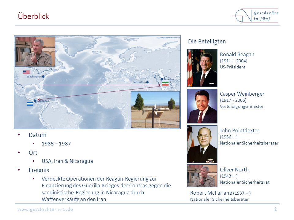 www.geschichte-in-5.de Hintergrund Linksgerichte Sandinisten übernehmen die Macht in Nicaragua Contras führen mit Unterstützung der USA einen Guerillakrieg gegen die Sandinisten 3 Ab 1981: Konservative & anti-kommunistische Regierung unter Ronald Reagan 1982 – 1984: Die Boland Amendments des Kongresses verbieten Unterstützung der Contras durch Regierung/CIA Nach der islamischen Revolution & der Geiselnahme von Teheran (1979 – 1981) ist der Iran ein Feind der USA 1985: Mehrere US-Bürger sind Geiseln der vom Iran kontrollierten Hisbollah im Libanon Iran benötigt Waffen für den Iran-Irak-Krieg, die auf Grund eines internationalen Embargos schwer zu beschaffen sind Representative Edward Boland