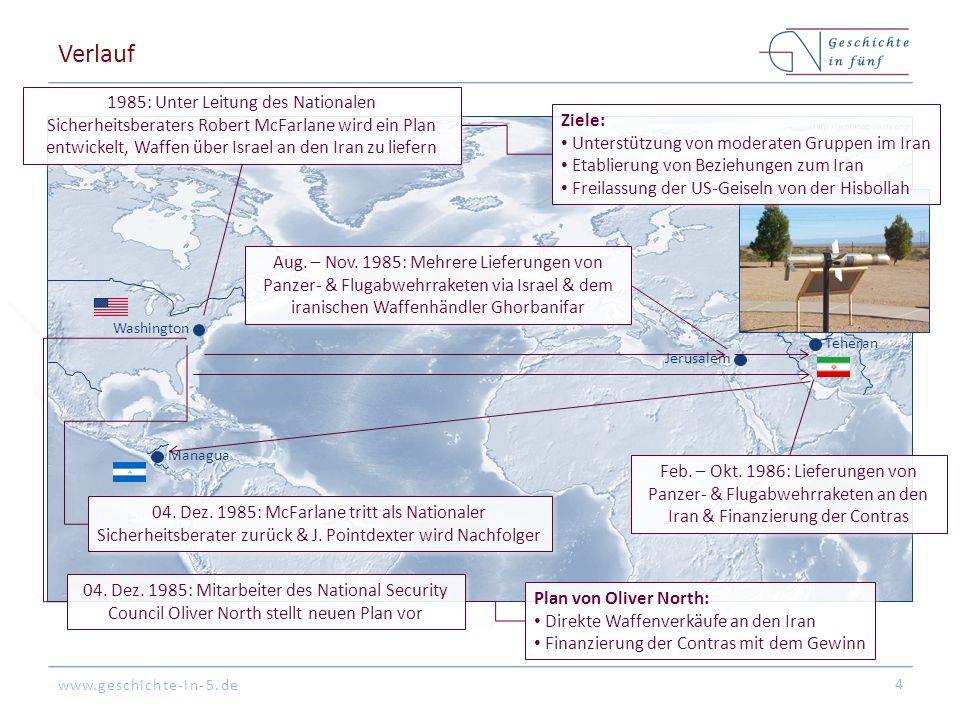 www.geschichte-in-5.de Washington Teheran Verlauf 4 1985: Unter Leitung des Nationalen Sicherheitsberaters Robert McFarlane wird ein Plan entwickelt, Waffen über Israel an den Iran zu liefern Aug.