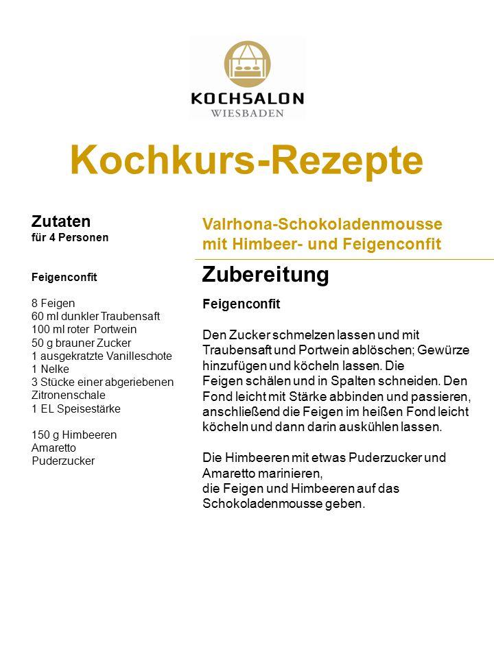 Kochkurs-Rezepte Zutaten für 4 Personen Zubereitung Valrhona-Schokoladenmousse mit Himbeer- und Feigenconfit Feigenconfit 8 Feigen 60 ml dunkler Traub
