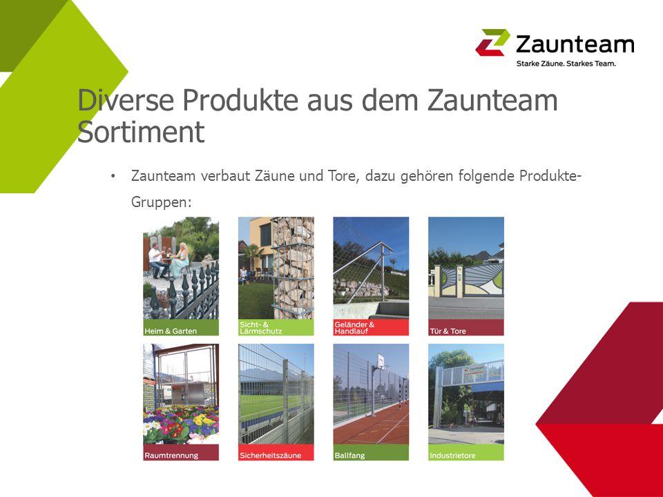 Diverse Produkte aus dem Zaunteam Sortiment Zaunteam verbaut Zäune und Tore, dazu gehören folgende Produkte- Gruppen: