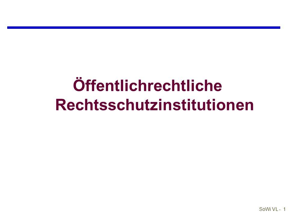 SoWi VL - 1 Öffentlichrechtliche Rechtsschutzinstitutionen