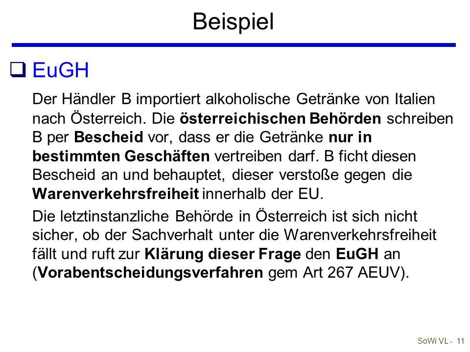 SoWi VL - 11 Beispiel qEuGH Der Händler B importiert alkoholische Getränke von Italien nach Österreich. Die österreichischen Behörden schreiben B per