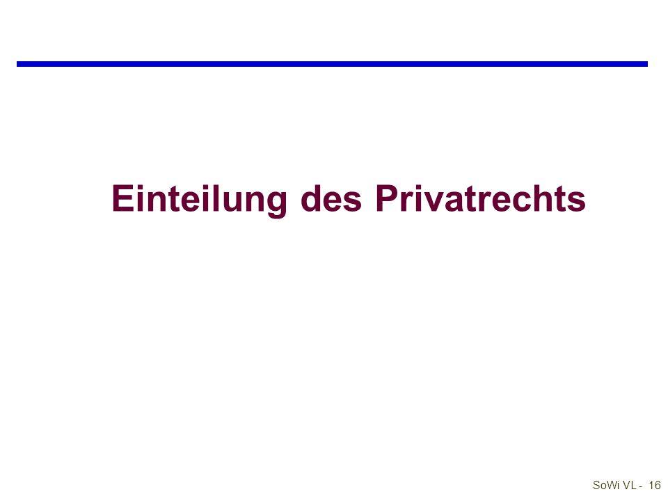 SoWi VL - 16 Einteilung des Privatrechts