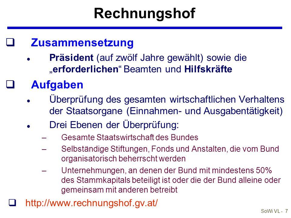 """SoWi VL - 8 Internationale bzw europäische Gerichte qEGMR (Straßburg) l entscheidet bei Verletzungen der EMRK l Individualbeschwerde (Art 34 EMRK) qEuGH l oberstes rechtsprechendes EU-Organ l sichert """"die Wahrung des Rechts bei der Auslegung und Anwendung der Verträge l Entscheidungen praktisch enorm wichtig l Vorabentscheidungsverfahren (Art 267 AEUV)"""