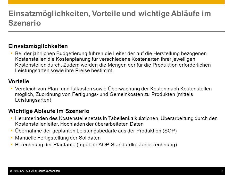 ©2013 SAP AG. Alle Rechte vorbehalten.2 Einsatzmöglichkeiten, Vorteile und wichtige Abläufe im Szenario Einsatzmöglichkeiten  Bei der jährlichen Budg