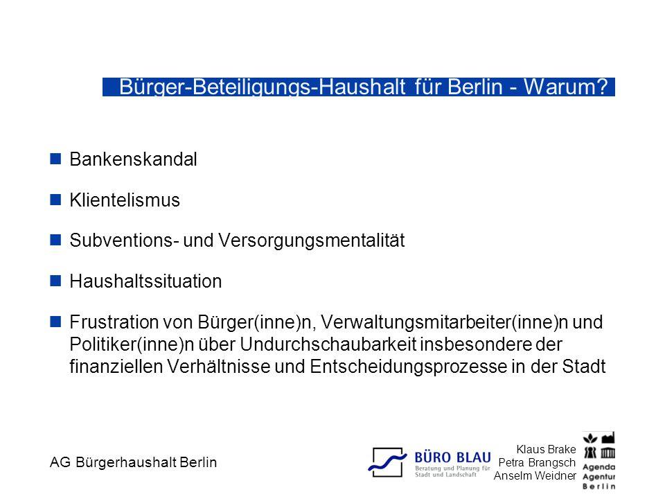 AG Bürgerhaushalt Berlin Klaus Brake Petra Brangsch Anselm Weidner Bürger-Beteiligungs-Haushalt für Berlin - Warum? Bankenskandal Klientelismus Subven
