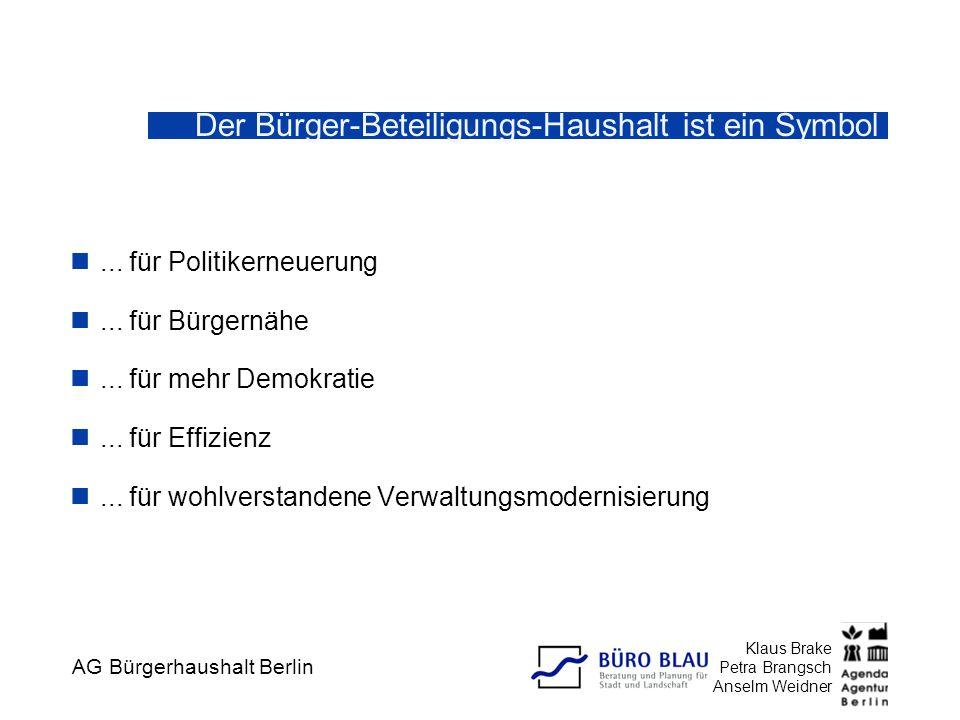 AG Bürgerhaushalt Berlin Klaus Brake Petra Brangsch Anselm Weidner Der Bürger-Beteiligungs-Haushalt ist ein Symbol... für Politikerneuerung... für Bür