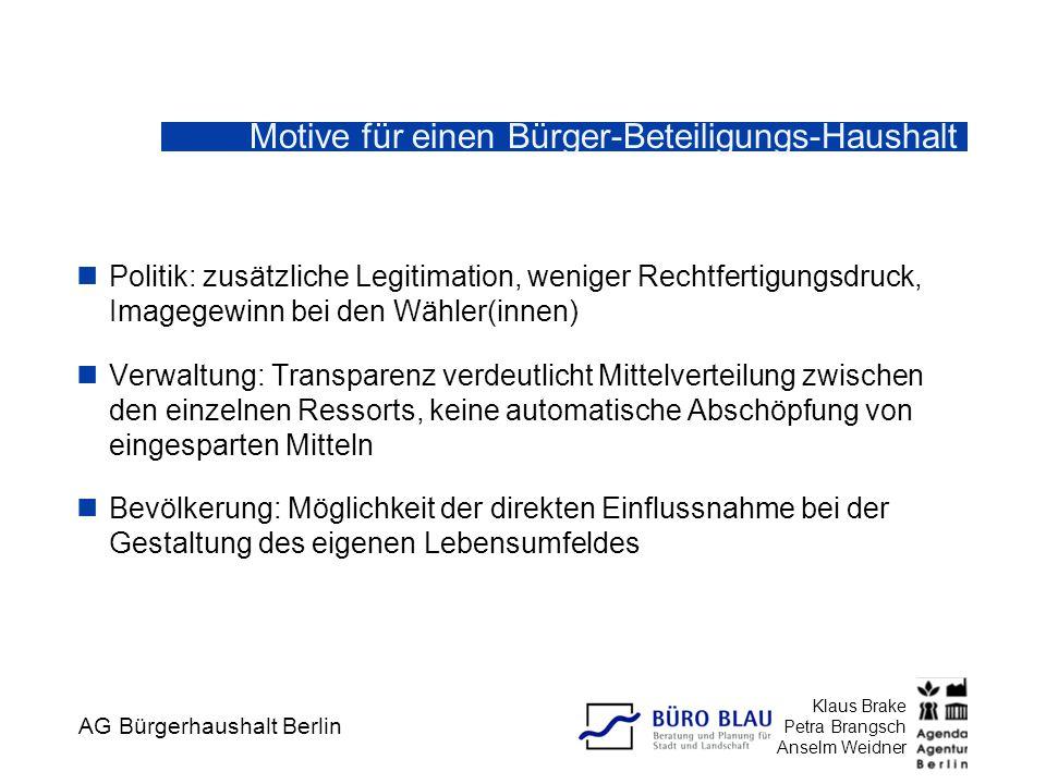 AG Bürgerhaushalt Berlin Klaus Brake Petra Brangsch Anselm Weidner Investitionsausgaben Berlin 2002 Gesamthaushalt (20 Mrd €) Investitionshaushalt (1,8 Mrd €)
