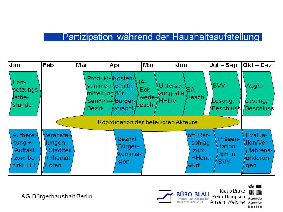 AG Bürgerhaushalt Berlin Klaus Brake Petra Brangsch Anselm Weidner Veranstal-.. tungen...Stadtteil.. + themat..Foren Koordination der beteiligten Akte