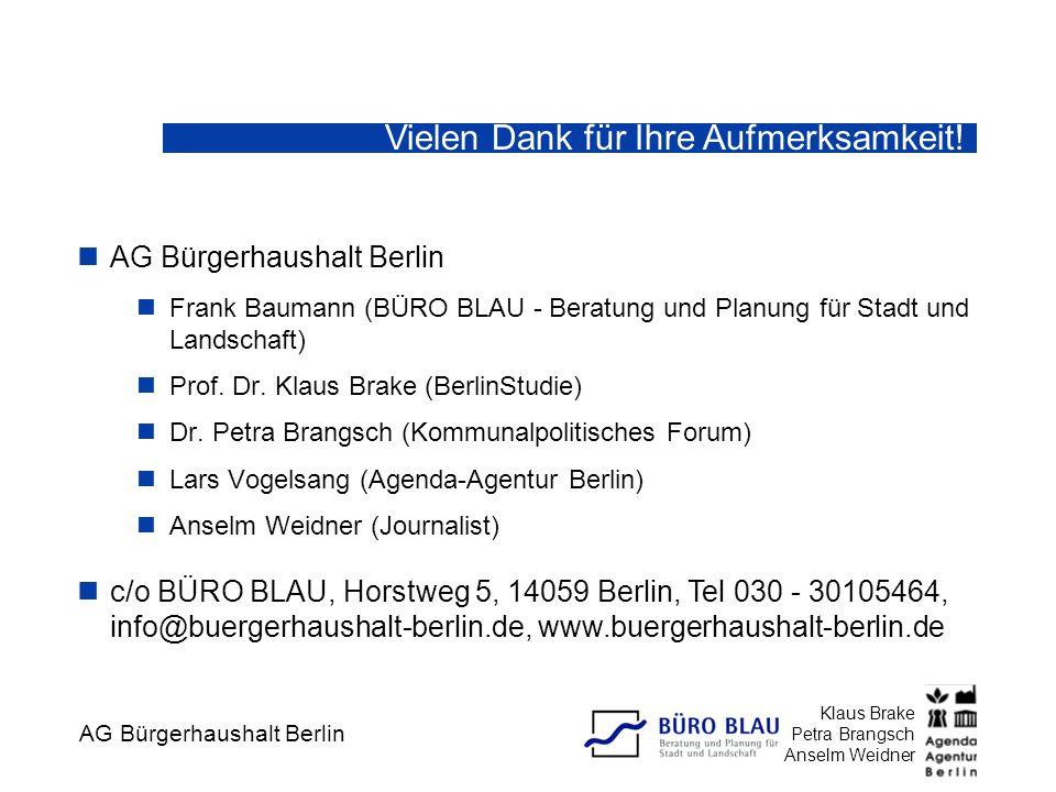 AG Bürgerhaushalt Berlin Klaus Brake Petra Brangsch Anselm Weidner Frank Baumann (BÜRO BLAU - Beratung und Planung für Stadt und Landschaft) Prof. Dr.