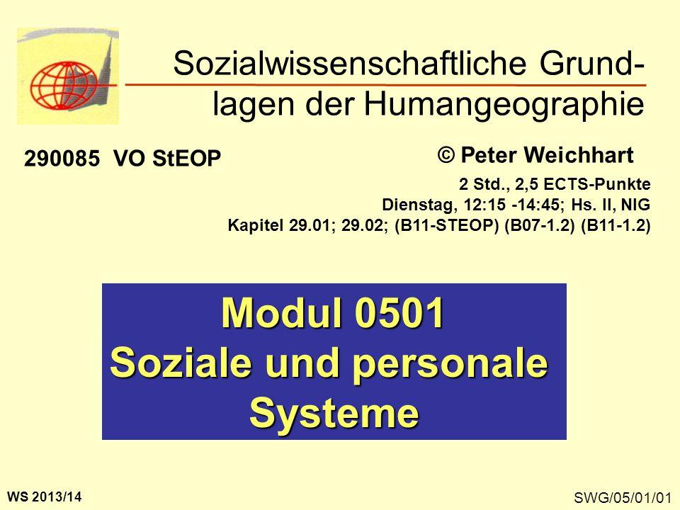 Sozialwissenschaftliche Grund- lagen der Humangeographie SWG/05/01/01 Modul 0501 Soziale und personale Systeme © Peter Weichhart WS 2013/14 290085 VO StEOP 2 Std., 2,5 ECTS-Punkte Dienstag, 12:15 -14:45; Hs.