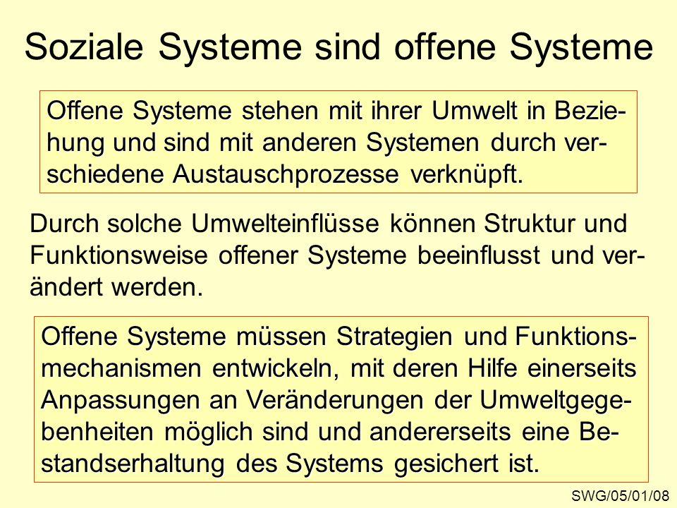 Soziale Systeme sind offene Systeme SWG/05/01/08 Offene Systeme stehen mit ihrer Umwelt in Bezie- hung und sind mit anderen Systemen durch ver- schiedene Austauschprozesse verknüpft.