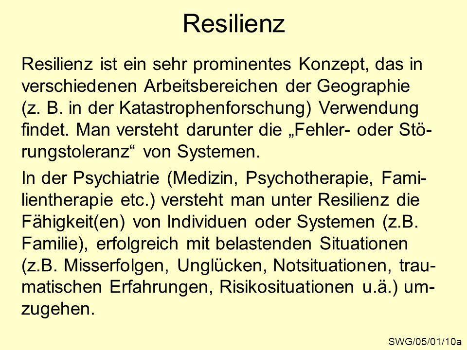 Resilienz Resilienz ist ein sehr prominentes Konzept, das in verschiedenen Arbeitsbereichen der Geographie (z.