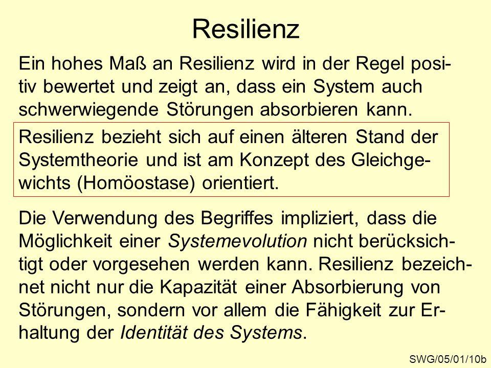 Resilienz SWG/05/01/10b Ein hohes Maß an Resilienz wird in der Regel posi- tiv bewertet und zeigt an, dass ein System auch schwerwiegende Störungen absorbieren kann.