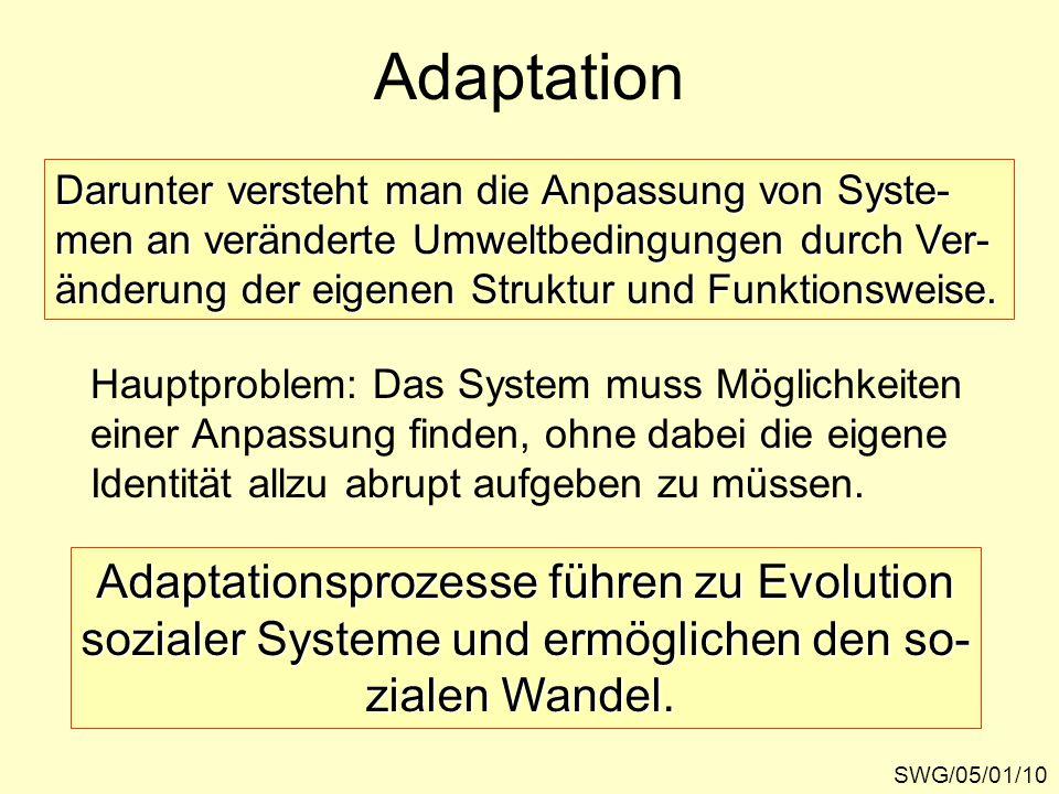 Adaptation SWG/05/01/10 Darunter versteht man die Anpassung von Syste- men an veränderte Umweltbedingungen durch Ver- änderung der eigenen Struktur und Funktionsweise.