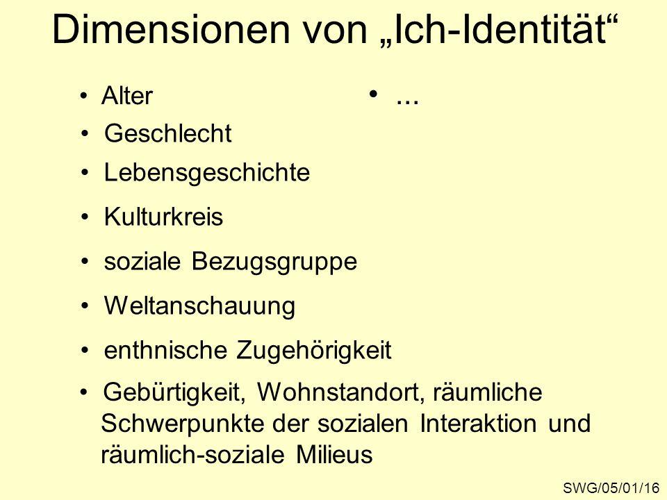 """SWG/05/01/16 Dimensionen von """"Ich-Identität"""" Alter Geschlecht Lebensgeschichte Kulturkreis soziale Bezugsgruppe Weltanschauung enthnische Zugehörigkei"""