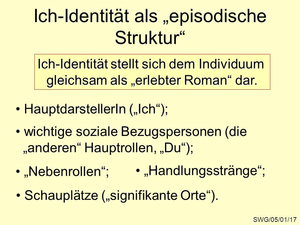 """SWG/05/01/17 Ich-Identität als """"episodische Struktur"""" Ich-Identität stellt sich dem Individuum gleichsam als """"erlebter Roman"""" dar. HauptdarstellerIn ("""