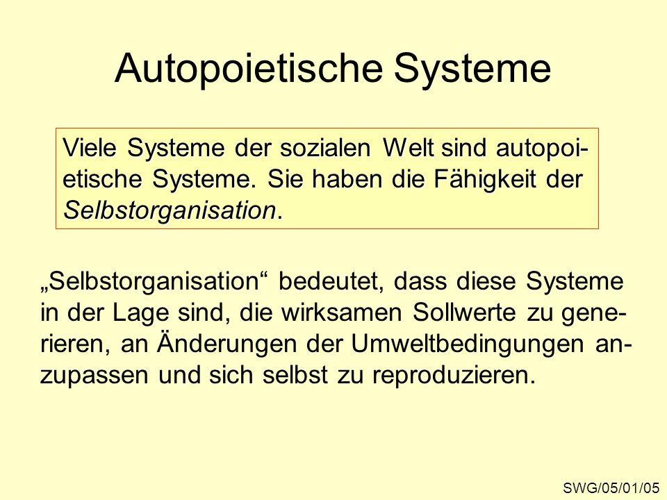 Autopoietische Systeme SWG/05/01/05 Viele Systeme der sozialen Welt sind autopoi- etische Systeme.