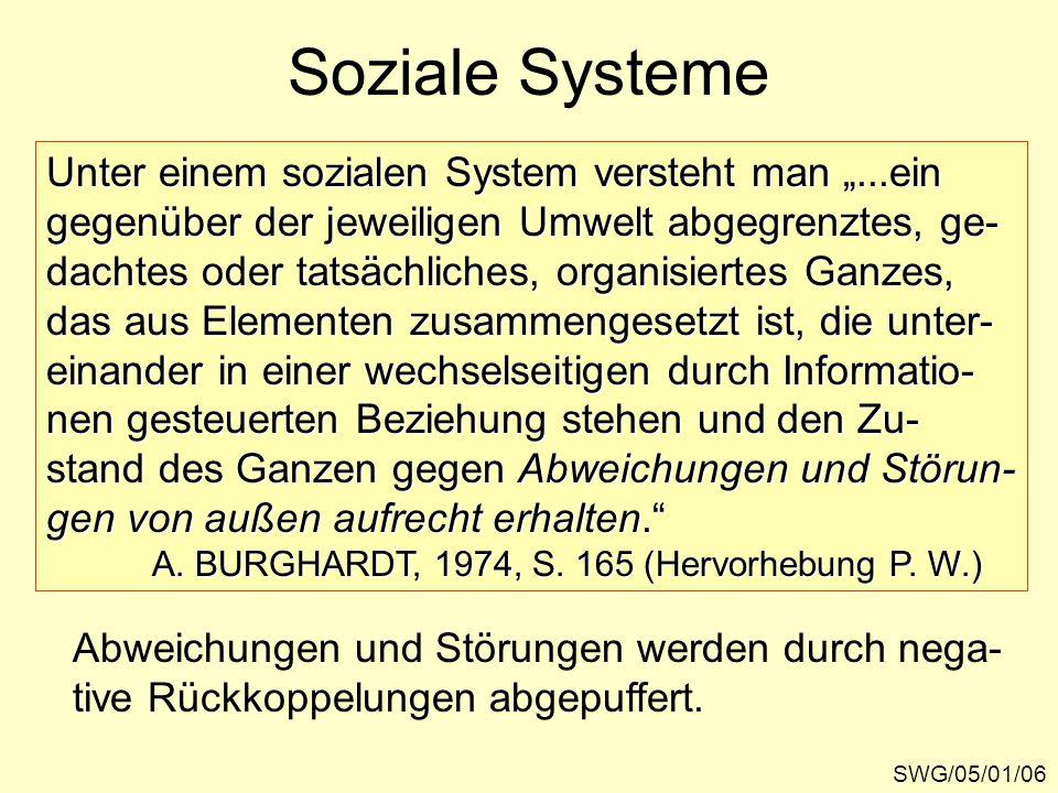 """Soziale Systeme SWG/05/01/06 Unter einem sozialen System versteht man """"...ein gegenüber der jeweiligen Umwelt abgegrenztes, ge- dachtes oder tatsächliches, organisiertes Ganzes, das aus Elementen zusammengesetzt ist, die unter- einander in einer wechselseitigen durch Informatio- nen gesteuerten Beziehung stehen und den Zu- stand des Ganzen gegen Abweichungen und Störun- gen von außen aufrecht erhalten. A."""