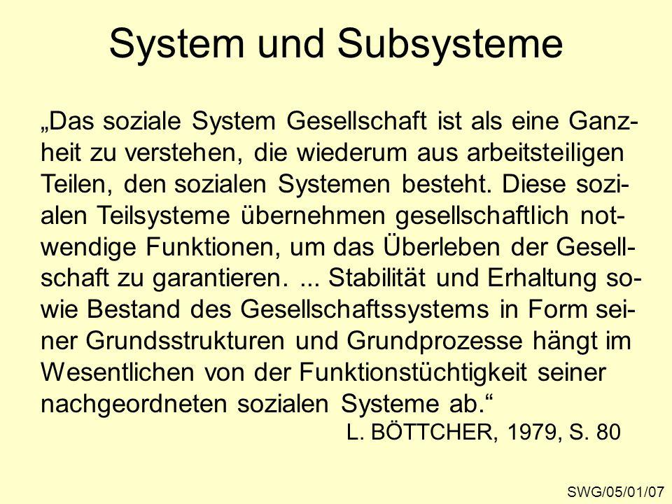 """System und Subsysteme SWG/05/01/07 """"Das soziale System Gesellschaft ist als eine Ganz- heit zu verstehen, die wiederum aus arbeitsteiligen Teilen, den sozialen Systemen besteht."""
