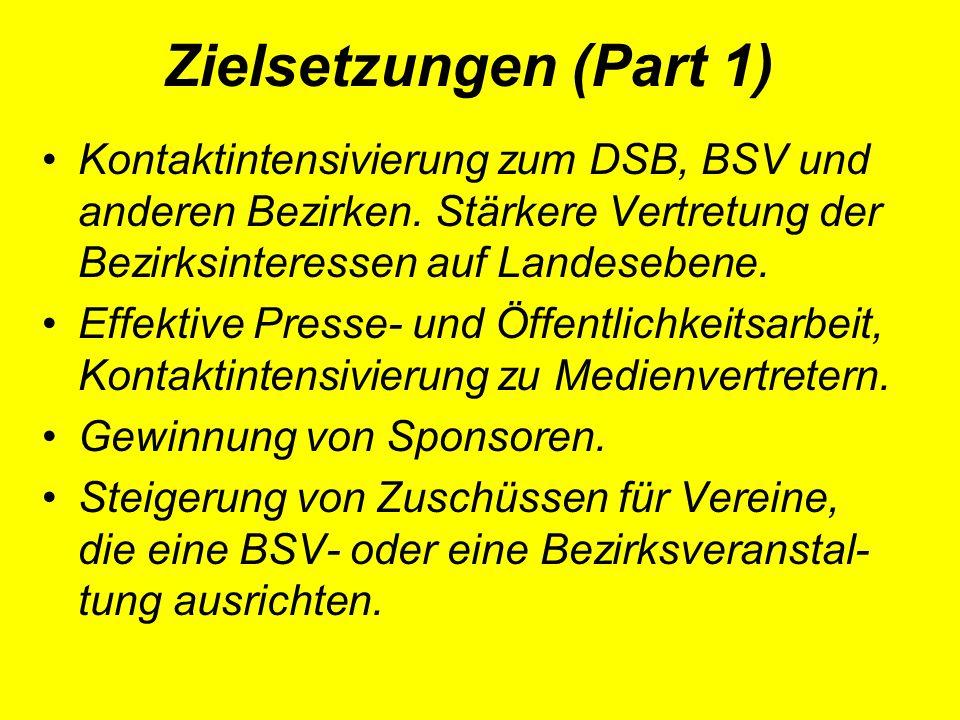 Zielsetzungen (Part 1) Kontaktintensivierung zum DSB, BSV und anderen Bezirken.