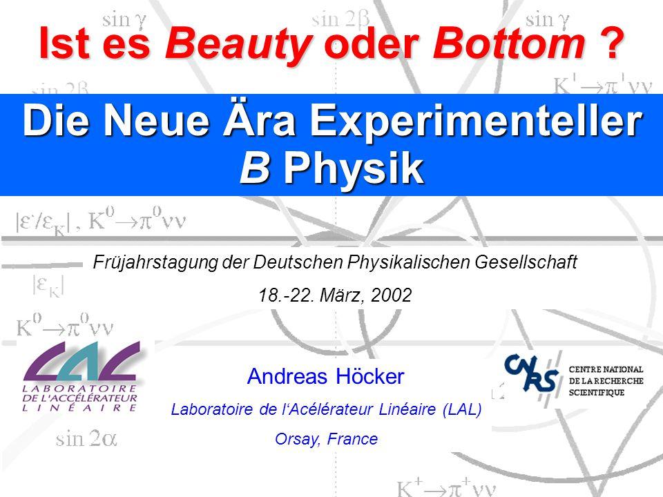 B d B d Mischung: Ergebnisse Quelle: LEP B Oscillations Working group LEP Mittelwert: 0.476  0.013 ps –1 Theoretische Unsicherheit SM fit Exp.