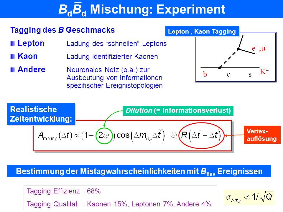 B 0 B 0 Mischung: Theorie Effektive FCNC Prozesse: deren Oszillationsfrequenzen  m d/s theoretisch berechnet werden können: Perturbative QCD Gitter Q
