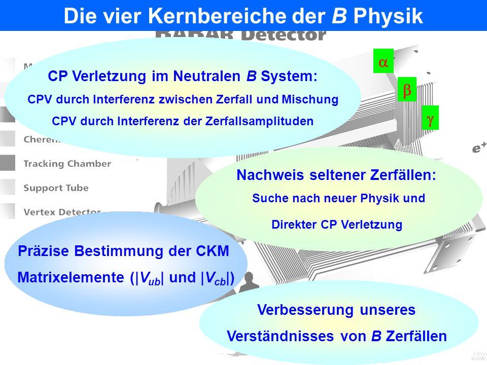 Die vier Kernbereiche der B Physik Verbesserung unseres Verständnisses von B Zerfällen Nachweis seltener Zerfällen: Suche nach neuer Physik und Direkter CP Verletzung Präzise Bestimmung der CKM Matrixelemente ( V ub   und  V cb  ) CP Verletzung im Neutralen B System: CPV durch Interferenz zwischen Zerfall und Mischung CPV durch Interferenz der Zerfallsamplituden   