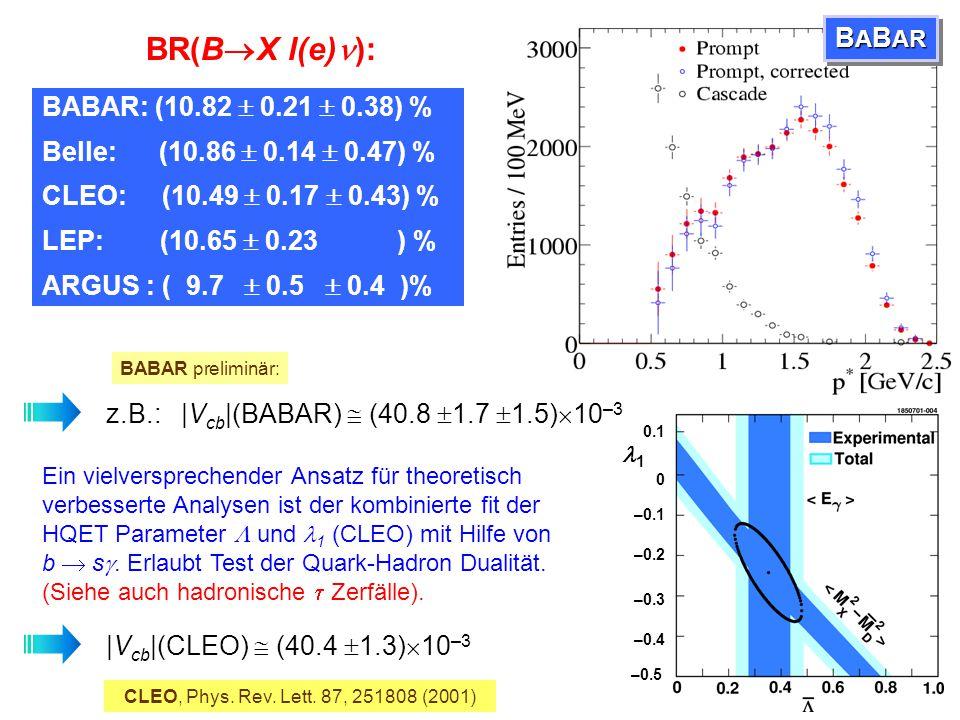 """Identifiziere durch """"Markierung"""" eines B's: Vollständige Rekonstruktion oder hochenergetisches Lepton Selektiere Leptonen des semileptonischen Zerfall"""