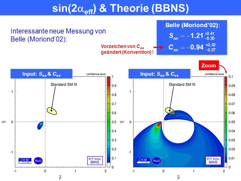 BABAR (Moriond'02): S  = – 0.01  0.38 C  = – 0.02  0.30 & BBNS BABAR (Moriond'02): S  = – 0.01  0.38 C  = – 0.02  0.30 & BBNS Input: S 
