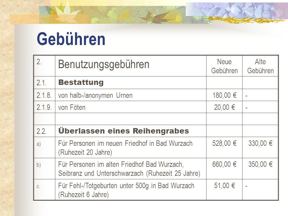 Gebühren 2. Benutzungsgebühren Neue Gebühren Alte Gebühren 2.1. Bestattung 2.1.8.von halb-/anonymen Urnen180,00 €- 2.1.9.von Föten20,00 €- 2.2. Überla