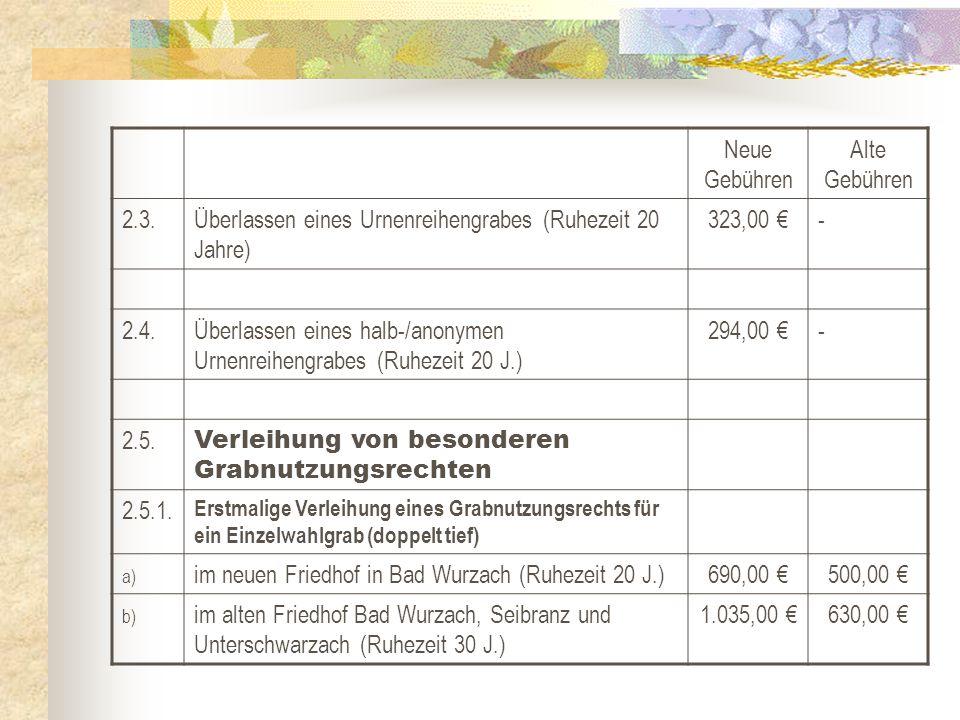 Neue Gebühren Alte Gebühren 2.3.Überlassen eines Urnenreihengrabes (Ruhezeit 20 Jahre) 323,00 €- 2.4.Überlassen eines halb-/anonymen Urnenreihengrabes