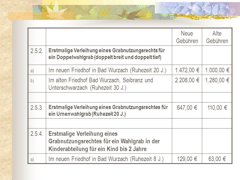 Neue Gebühren Alte Gebühren 2.5.2. Erstmalige Verleihung eines Grabnutzungsrechts für ein Doppelwahlgrab (doppelt breit und doppelt tief) a) Im neuen