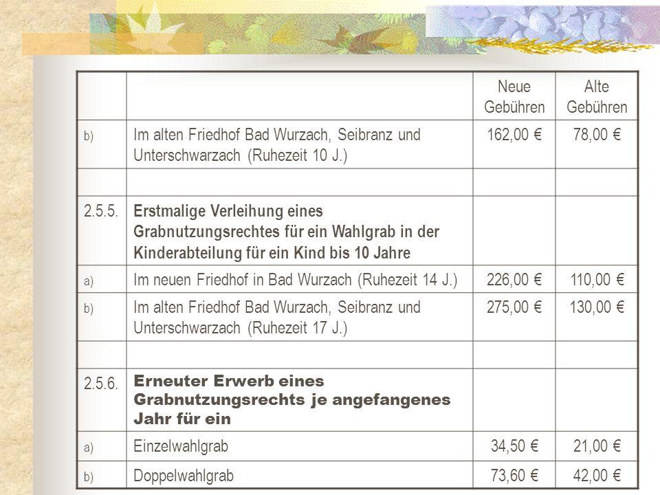 Neue Gebühren Alte Gebühren b) Im alten Friedhof Bad Wurzach, Seibranz und Unterschwarzach (Ruhezeit 10 J.) 162,00 €78,00 € 2.5.5. Erstmalige Verleihu